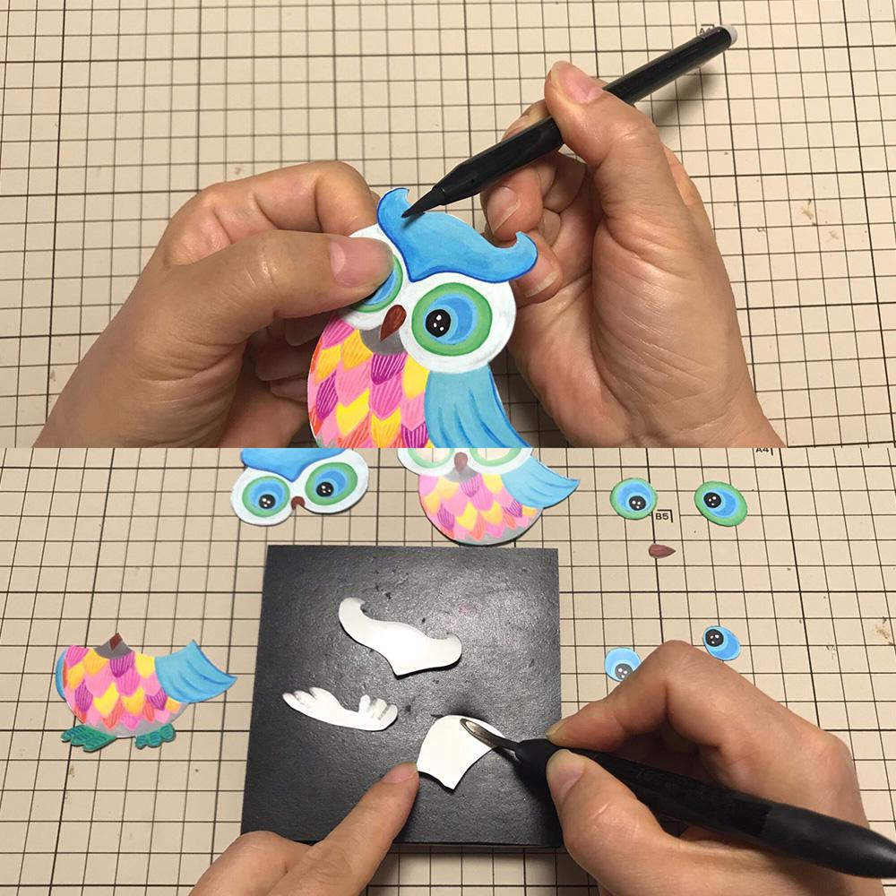 切り口に色を塗る。モデラーで裏から丸みをつける